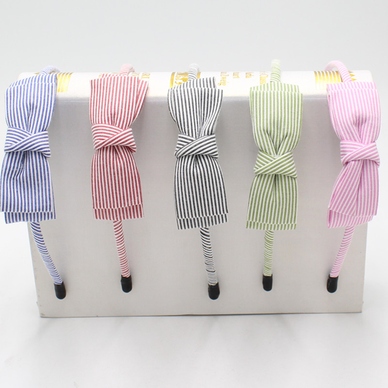 AKWZMLY 1PC New Fashion Headband Stripe Hair Band Big Bow Headband Cloth Women Girl Handmade Hairband Hair Accessories Girl Gift shanfu women zebra stripe sinamay fascinator feather headband fashion lady hair accessories blue sfc12441