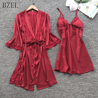 BZEL Sexy Women's Robe & Gown Sets Lace Bathrobe + Night Dress Two Pieces Sleepwear Womens Sleep Set Faux Silk Robe Femme M XL