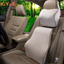 KKYSYELVA 2 teile/satz Memory Foam Kissen Auto Kissen Sitz zurück unterstützung Autoplanen Auto Auto Nackenstütze Kissen Kopfstütze Kissen matte