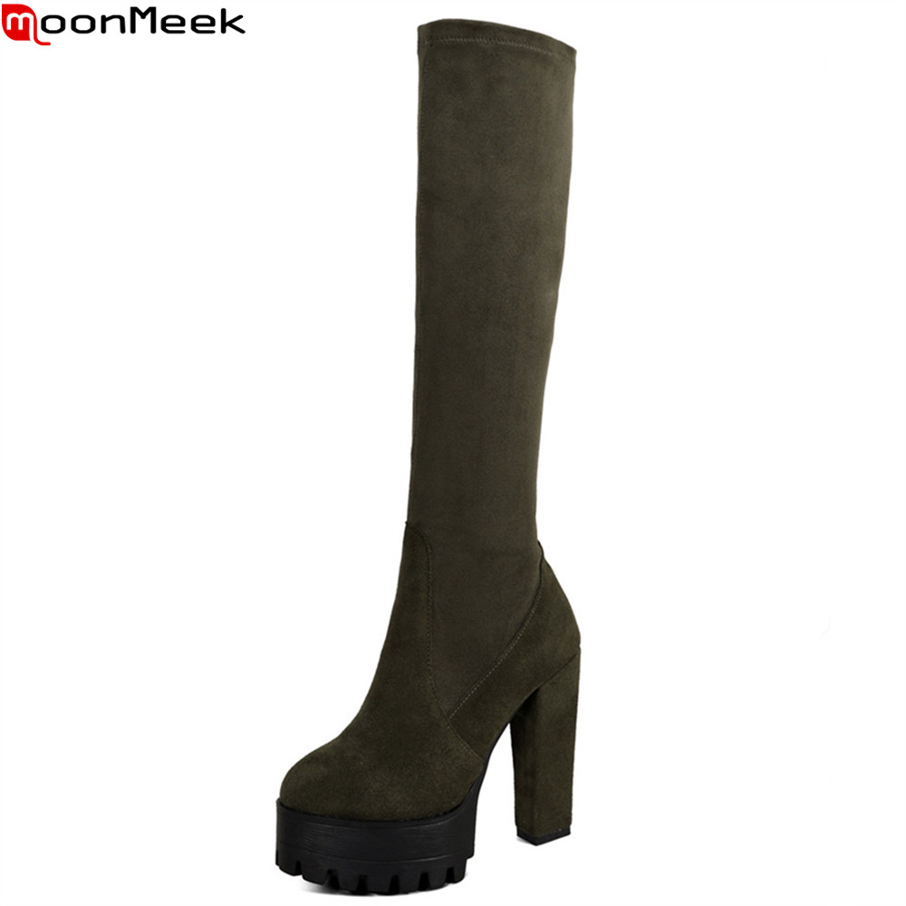 цена MoonMeek army green black women boots round toe platform cow leather ladies boots zipper over the knee boots big size 33-44