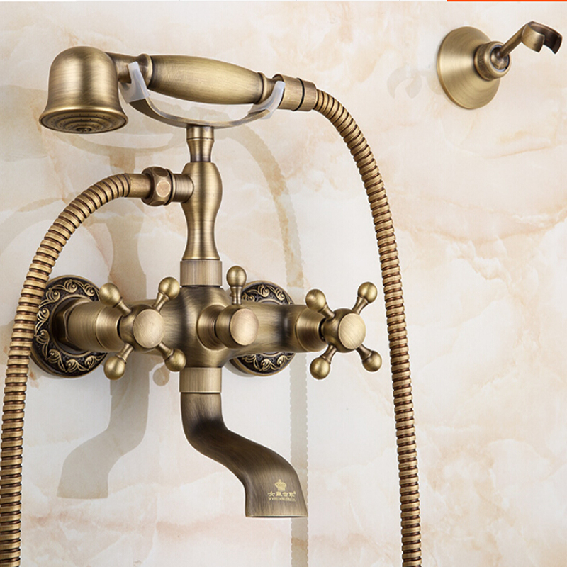 Wholesale And Retail Modern Antique Brass Bathroom Tub Faucet Dual Cross Handles Ceramic valve Mixer Tap W/ Hand Shower Sprayer wholesale and retail promotion wall mounted bathroom tub faucet spout w hand shower sprayer antique brass shower mixer tap
