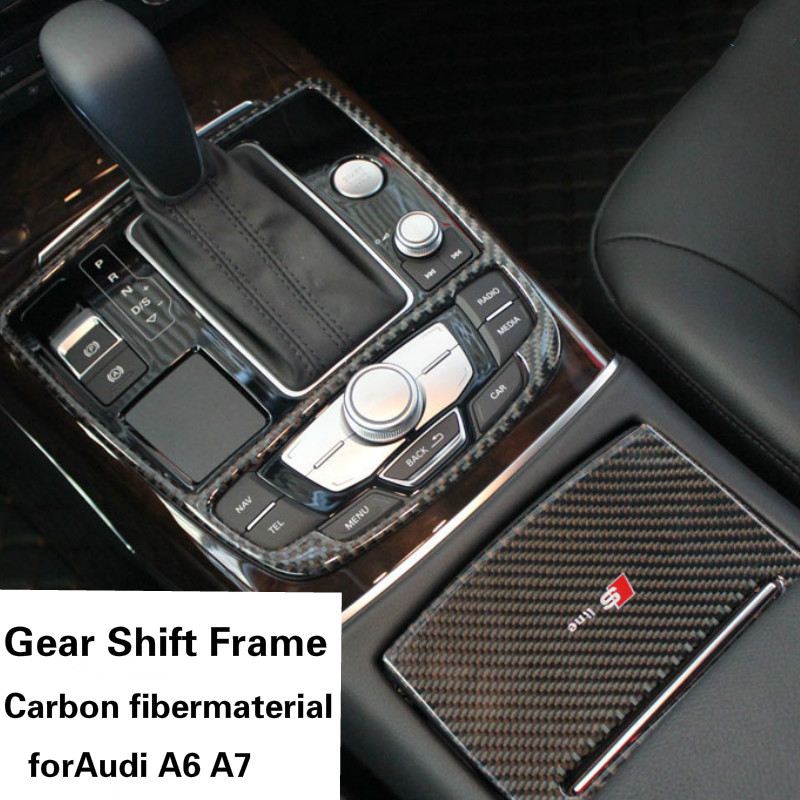 Car inner Carbon fiber cover water Cup Holder frame Gear Shift Knob Sticker Panel Frame Trim Cover For Audi A7 A6 only for left hand drive interior abs gear shift box panel frame cover for audi a4 b9 2016 2017 sedan car accessories styling