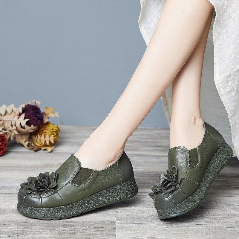 ФОТО Handmade women shoes genuine leather thick soled platform female platform shoes med heels flower