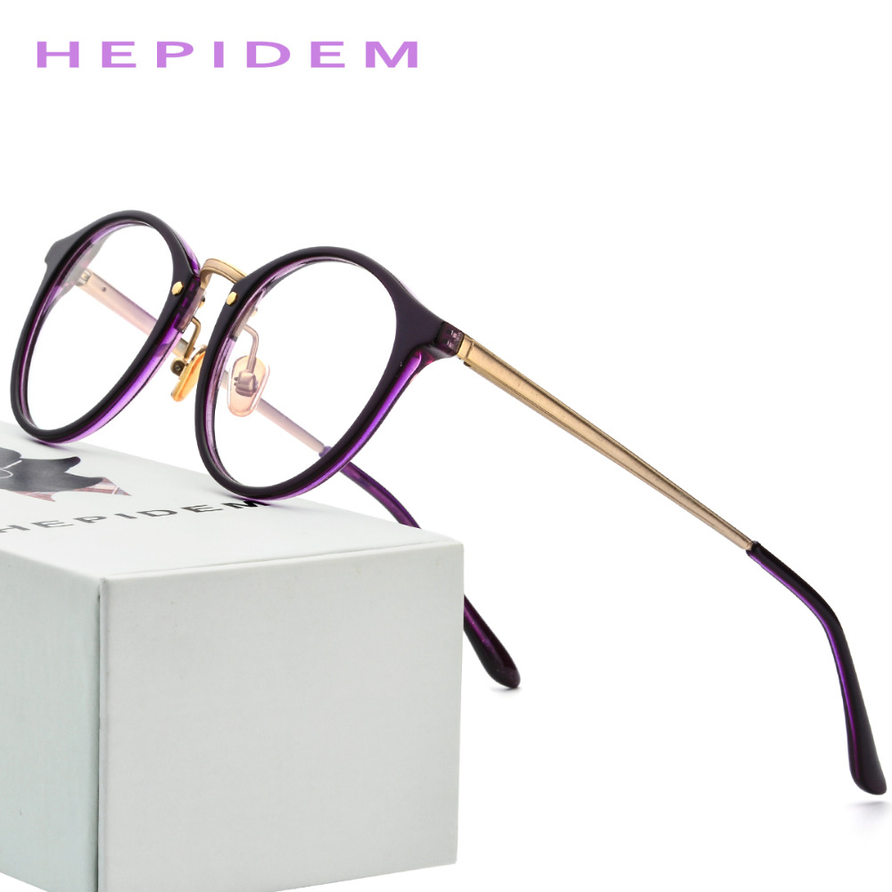 0e5ae94f3f Acetate Optical Glasses Frame Women 2018 Metal Men Retro Round Prescription  Eyeglasses Ladies Vintage Myopia Spectacles Eyewear