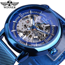 Winner Men Blue Fashion Hand Wind Mechanical Skeleton Luminous Hands Stainless Steel Mesh Strap Business Watches Montre Homme