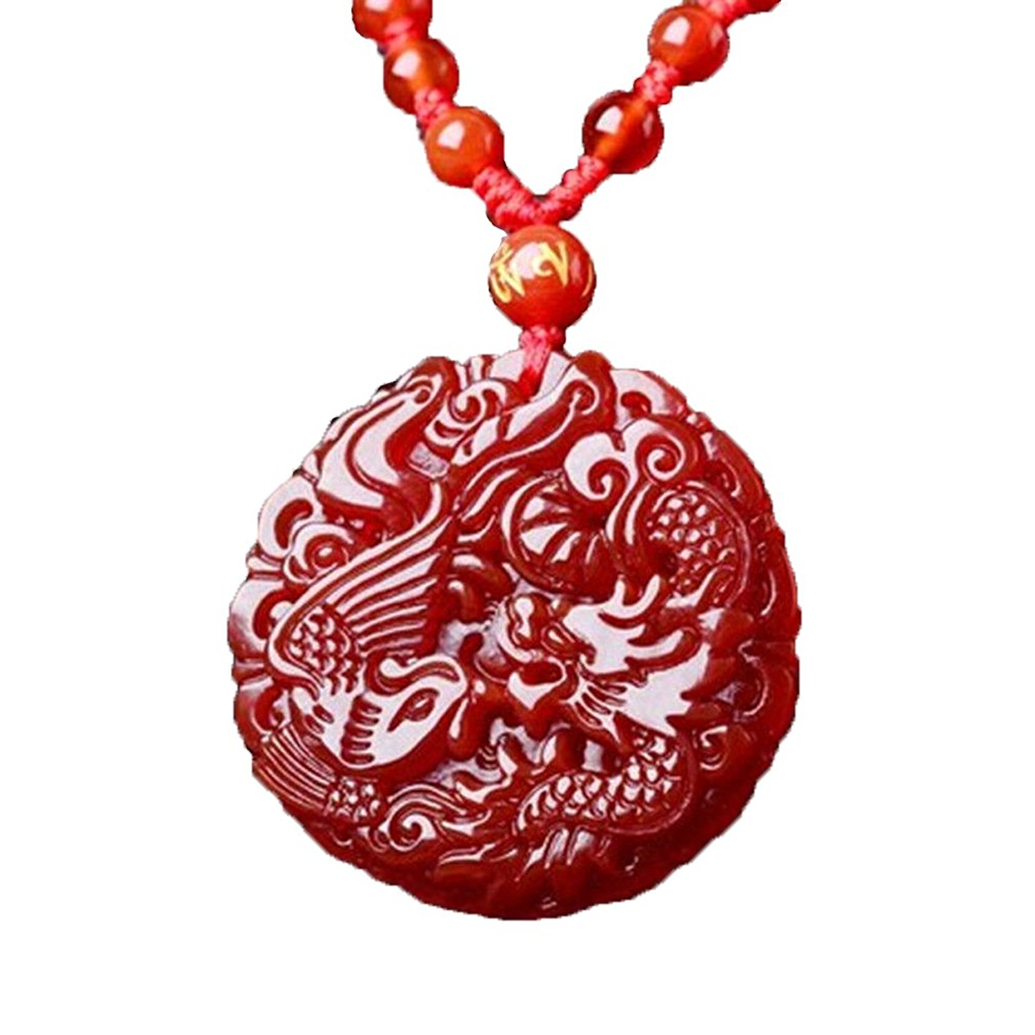 Koraba Fine Jewelry Pure Natural Red Agate Necklace Pendant Rosy Dragon Phoenix Excellence Polishing Free Shipping