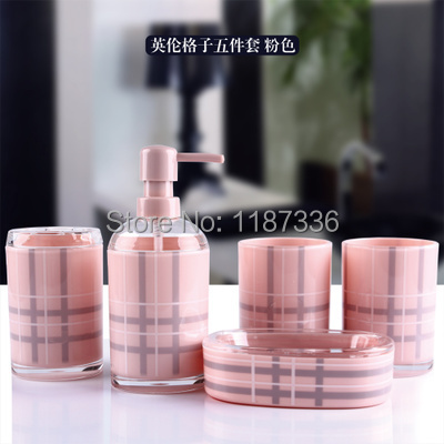 Five pieces Bathroom set Eco-friendly Check pattern Five-piece double deck Bathroom set Bathroom Accessory