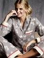 2016 Outono Nova Dandelion Imprimir Pijamas De Algodão Mulheres Sleepwear Conjunto Pijama Para As Mulheres