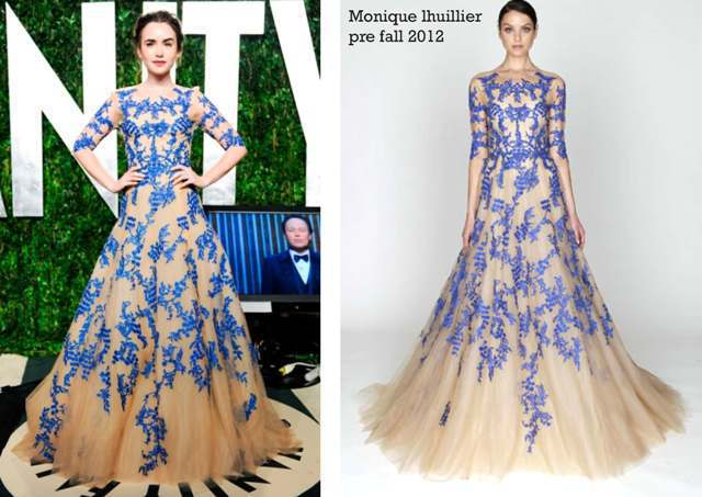 Lily collins oscar party emboidery celebrity inspired - Designer red carpet dresses ...