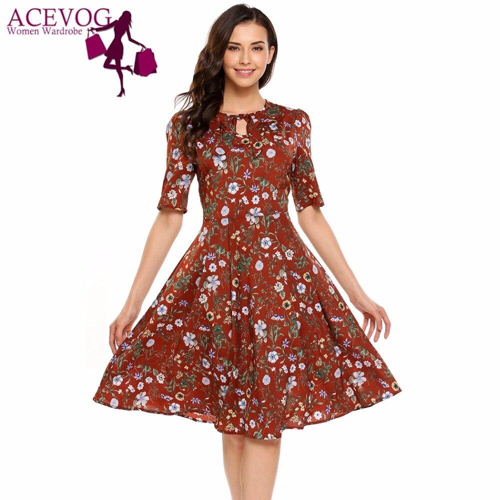 ACEVOG Women Vintage Dress Summer Autumn Keyhole Half Sleeve High ...