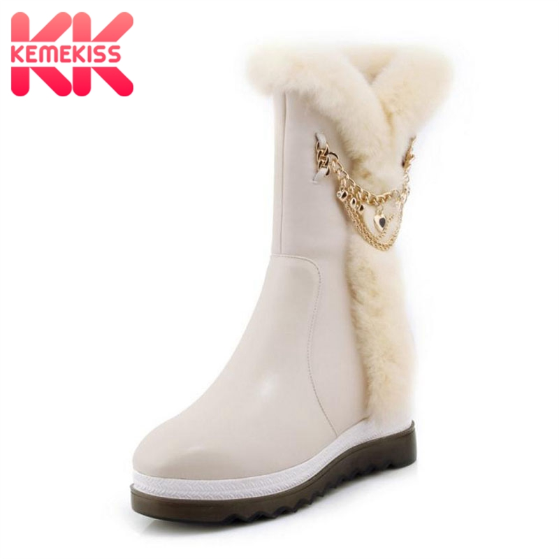 KemeKiss Women Snow Boots Genuine Leather Chain Wedges Mid Calf Mother Boots Fashion Women Warm Fur Winter Shoes Size 34-39 kemekiss women genuine leather ankle wedges boots zipper warm fur shoes coold winter boots short botas women fotowear size 34 39