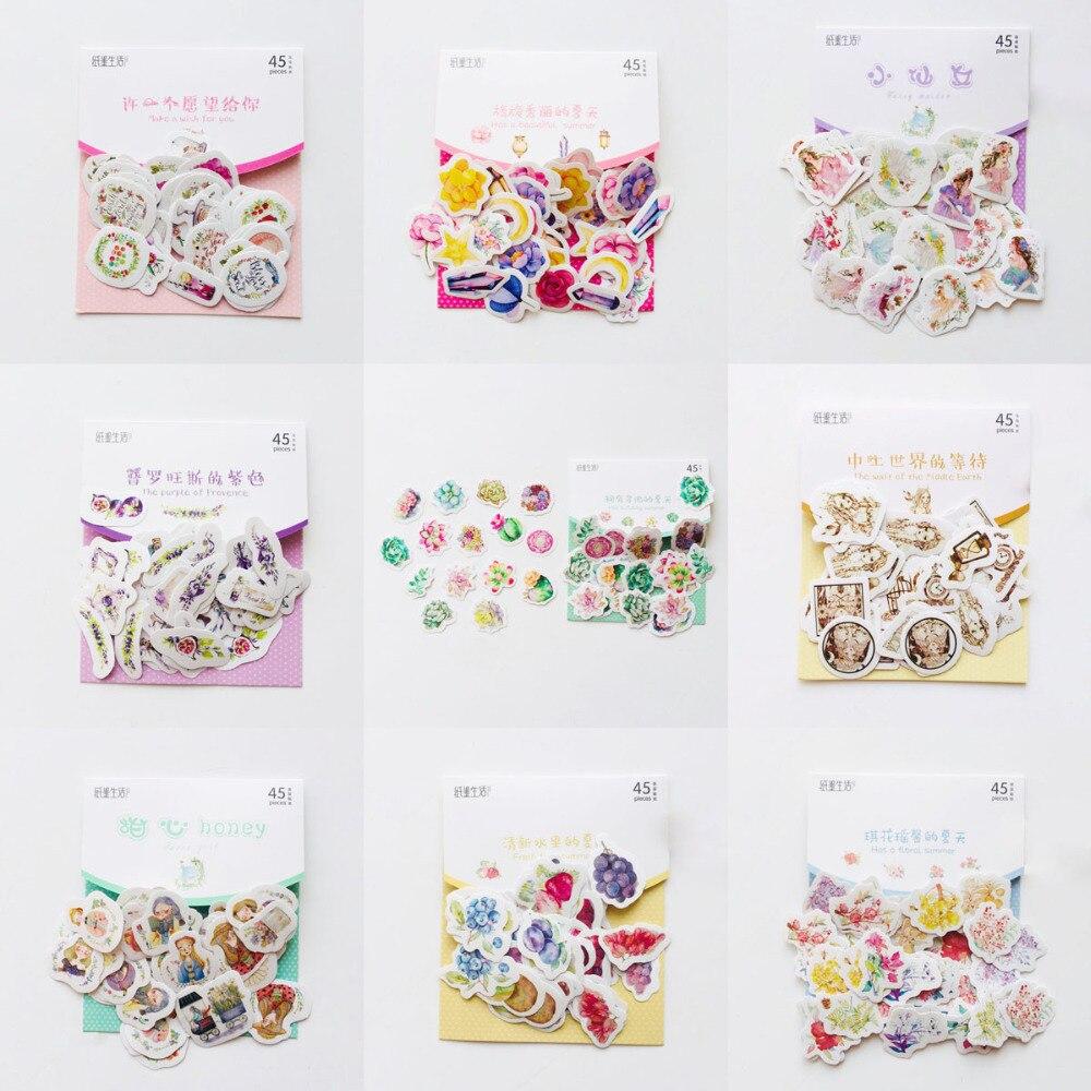 45pcs /Pack Fresh Summer Style Cactus Flower Life Adhesive DIY Sticker Stick Label Notebook Album Diary Decor