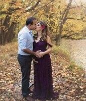 2018 hotmaternityドレス女性の写真撮影の小道具のために妊娠中写真撮影マタニティドレスガウン結婚式パーティー妊娠ドレ