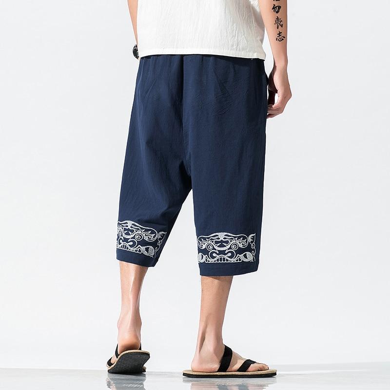 Chinesischen Stil Männer Lose Baumwolle Leinen Stickerei Kalb-Länge Hosen Männlichen Streetwear Gerade Beiläufige Breite Bein Hosen Strand Hose