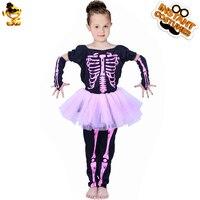 DSPLAY New Style Kids Skeleton Tutu Pink Dress Girls Cute Printed Fancy Dress For Halloween Party