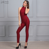 Adyce 2017 New Summer women Rompers Bodysuit Black Sleeveless Back Zipper Full Length Celebrity party Bandage Jumpsuit wholesale