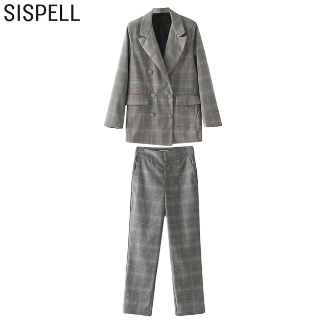 SISPELL 2017 2 Pieces Set Women Casual Vintage Double Breasted Blazer Female Coat With Wide Leg Ankle Length Pants Clothes New