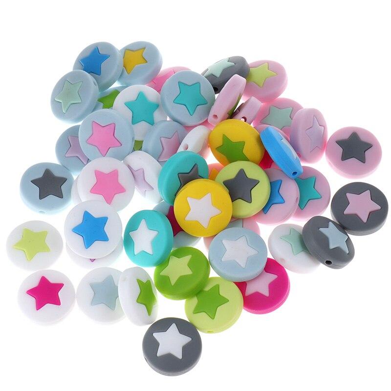 20PCS Silicone Baby Beads Star Round Pie Silicone Bead Silicone Teethers Baby Teether Beads For Girls Nurse Gift 21MM