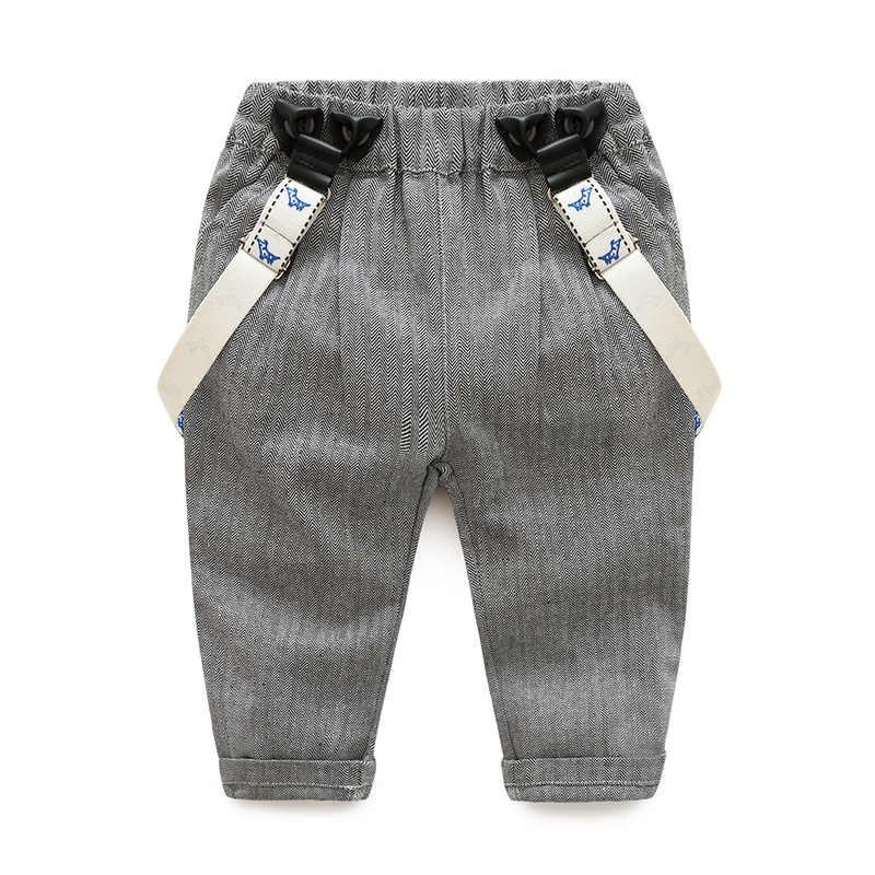 eb439ae39 ... Newborn baby clothes children clothing gentleman baby boy grey striped  shirt+overalls fashion baby boy ...