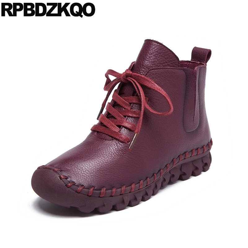 Ankle Round Toe Front Lace Up Casual Boots Autumn 2017 Flat Fall Booties Big Size Genuine Leather Shoes Ladies Wine Red Fashion mens autumn winter round toe martin boots black genuine leather ankle plush short boots for men casual flat lace up cotton shoes