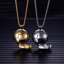 Men's Football Pendant Necklace For Men Punk Rock Stainless Steel Sporty Necklaces Male Jewelry Colar vnox rock punk necklace men jewelry 100% tungsten carbide necklaces