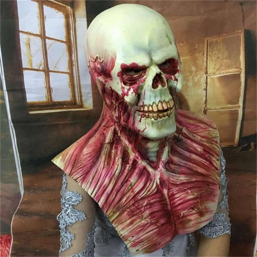 Изображение в стиле фильма ужасов латексная маска для хеллоуина зомби взрослый кровавый ужасный чрезвычайно противно полный лицо Вечерние Маски Костюмированная вечеринка Косплей