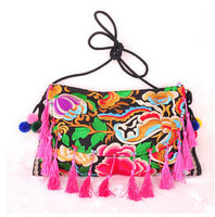 Top Promotion Hot Women S Embroidered Bags With Tassels Embroidery One Shoulder Cross Body Women S