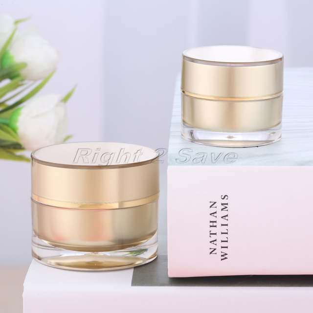 9ca7f970b1c5 US $1.15 26% OFF|Acrylic Jar 5g/10g Gold Face Cream Pot Cosmetic Container  Empty Round Packaging Bottle Portable Travel Refillable Makeup Tool-in ...