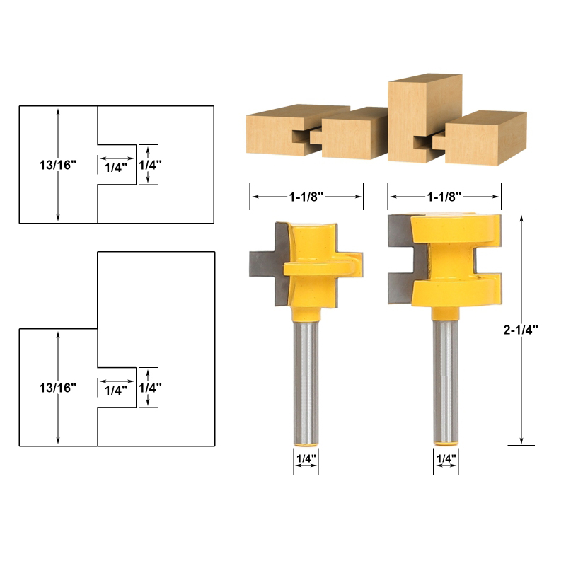 2pcs/lot Mini Tongue & Groove Router Bit Set - 1/4 Shank 2pcs tongue