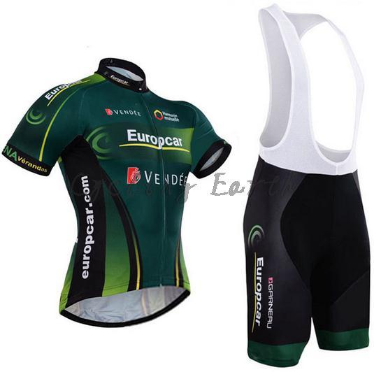 Europcar 2015 Short Sleeve Cycling Jersey Bib Shorts Set Bike