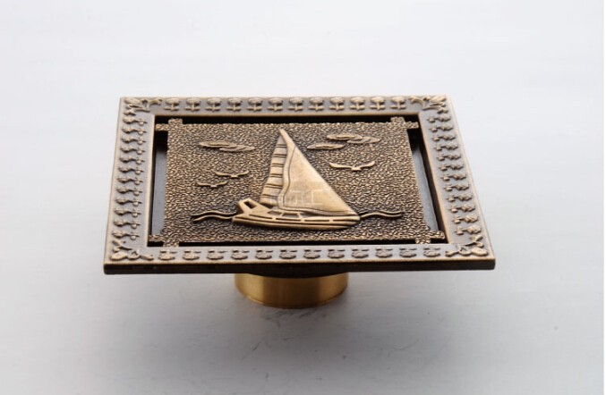 New arrival Europe style high quality bronze brass art carved square 120mm*120mm size deodorization floor drain waste drain 2017 new style europe