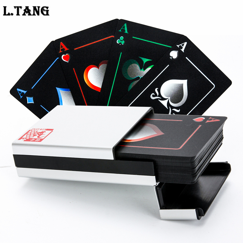 цена Waterproof PVC Poker With Aluminum Box High Quality Black Plastic Playing Cards Novelty Collection Board Game Gift L388