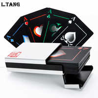 Waterproof PVC Poker With Aluminum Box High Quality Black Plastic Playing Cards Novelty Collection Board Game Gift L388
