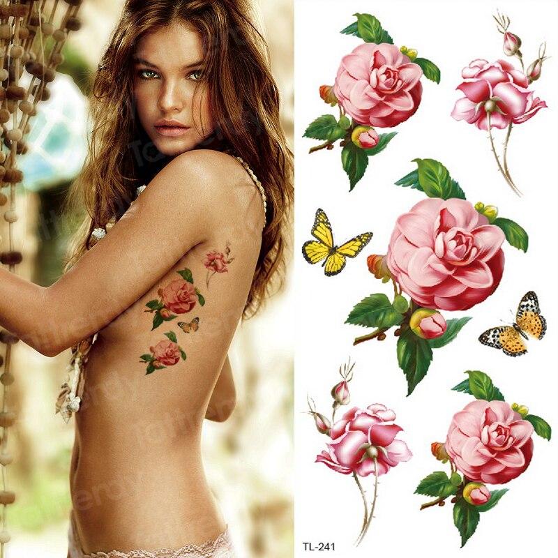 temporary tattoo sticker flower black rose stickers bikini waterproof temporary tattoos girls body art fake tatoo leg neck hand 1