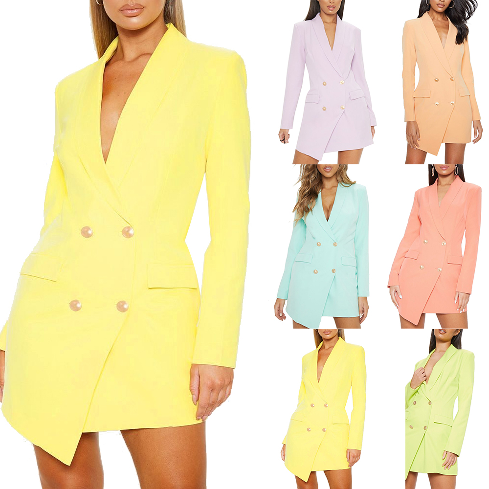 2019 Solid Elegant Double Breasted Women Dress Office Casual Blazer Dress  2019 Autumn Winter Slim Suit Ladies Dresses Plus Size 4XL From Pleated, ...