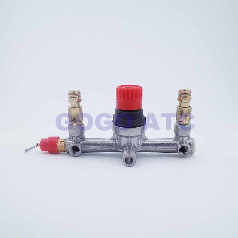 GOGO Air compressor onderdelen Bama beugel/wind/air compressor outlet 6 poorten ijzeren beugel met veiligheidsventiel verstelbare druk