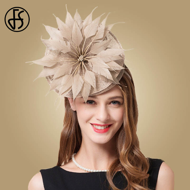 c4e39bedb9d FS 2019 New Elegant Ladies Kentucky Derby Hats Feather Sinamay Linen Brown  Vintage Pillbox Fascinator Church Kentucky Fedoras - a.gunasai.me