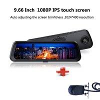Видеорегистратор для автомобиля камера 9,66 дюйма 1080 P Full HD сенсорный экран монитор заднего вида зеркальная камера заднего вида Передняя и за