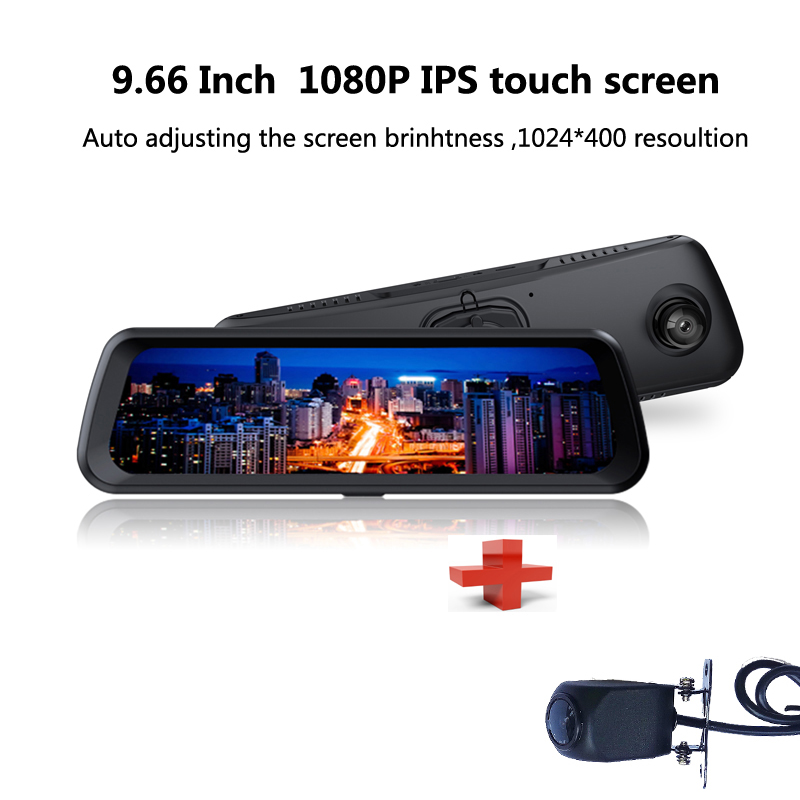 Dash Cam DVR Camera 9.66 Inch 1080P Full HD Touch Screen Rearview Monitor Mirror Rear camera Front and Rear Dual Camera