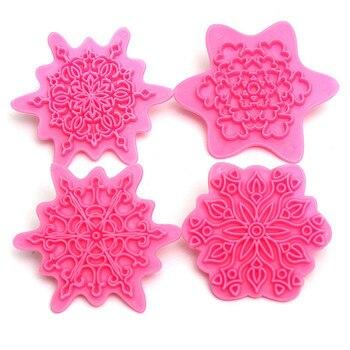 4 unids/lote flor molde para relieve de pastel prensa de encaje molde galleta sellos Fondant galletita de azúcar cortador herramientas de cocina para hornear