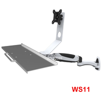 WS11 Ergonomic Aluminum Gas Spring Arm Wall Mount Sit Stand15 27 LCD Monitor Holder+Keyboard Holder Full Motion Stand Bracket