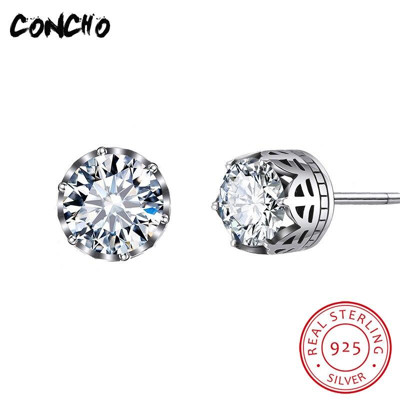 Bijoux Concho 925 en argent Sterling géométrique blanc Zircon boucles d'oreilles pour femmes cadeaux de fête mode femmes charmes boucles d'oreilles