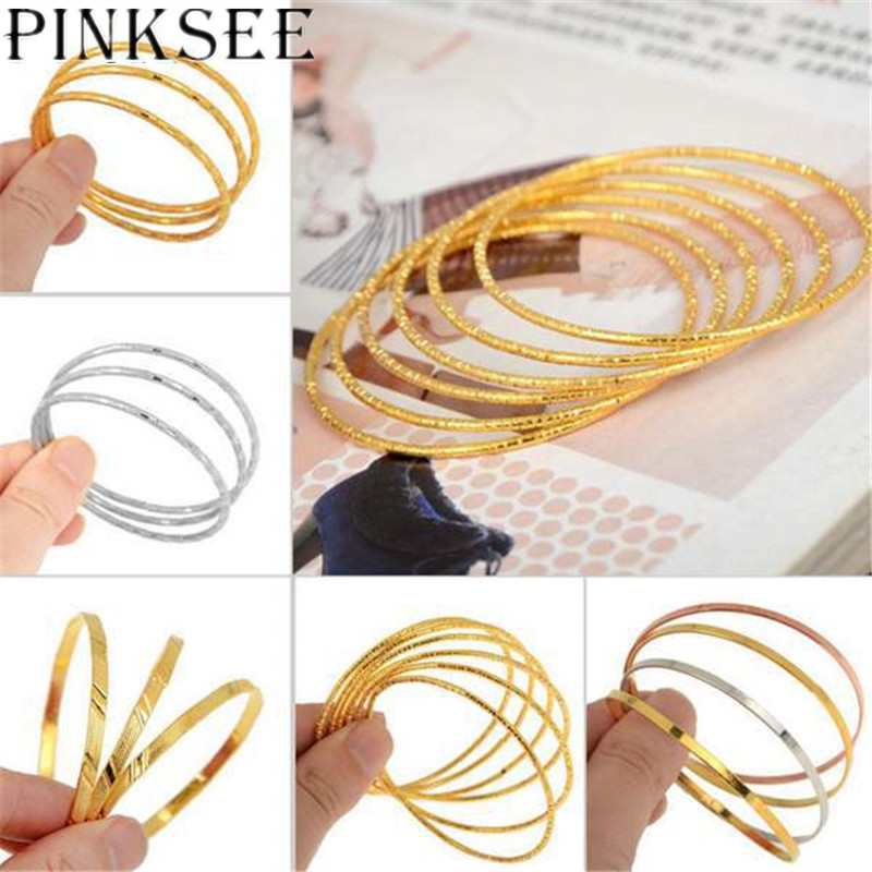 NEW 3/4/6pcs 1 Set New Fashion Gold Silver Color Baby Kids Children Round Band Bangles Cuff Anklets Muslim Bracelet Drop Ship