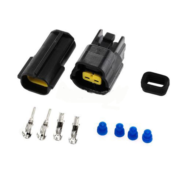 Dewtreetali 2 Set Kit Car Auto 2 Pin Way Waterproof Electrical Wire Cable Connector Plug For Set Car Truck Boat ect Black