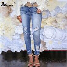 купить Plus Size 2xl 3xl Summer Women Denim Pants Ladies Long Pants Streetwear skinny Mid Waist Jeans Hole Female Pencil Pants Jeans по цене 1107.88 рублей