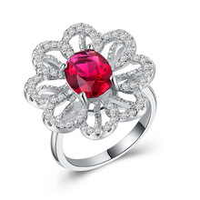 Ruby ring gold Plated 925 Silver Ring Lucky Flower Diamond Zircon treasure Rose golden jade crystal Indian B1115