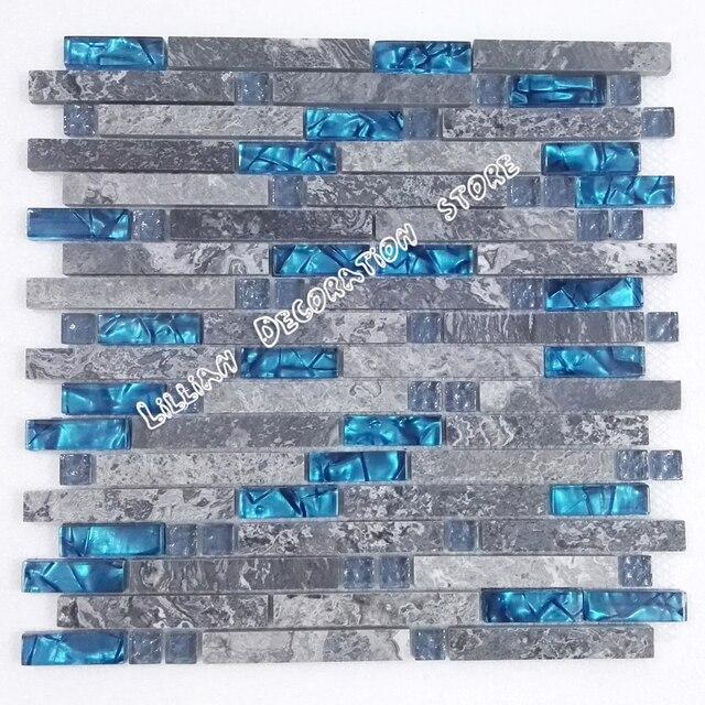 Sea Blue Glass Tile Kitchen Backsplash Grey Marble Tile Stone