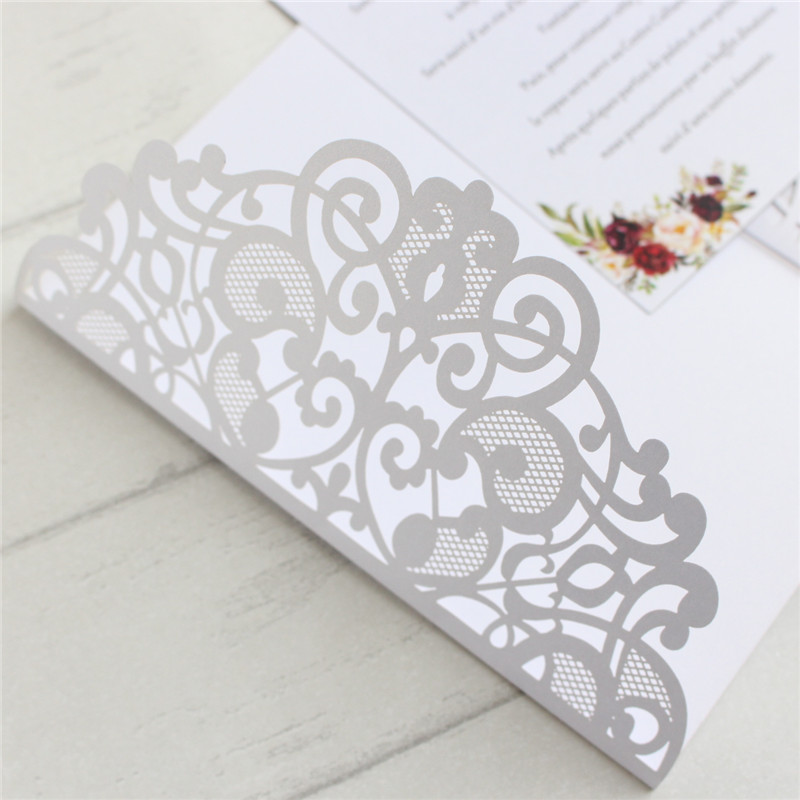 Wedding invitations 50pcs navy blue white laser cut flower card invitation customized printing in Cards Invitations from Home Garden