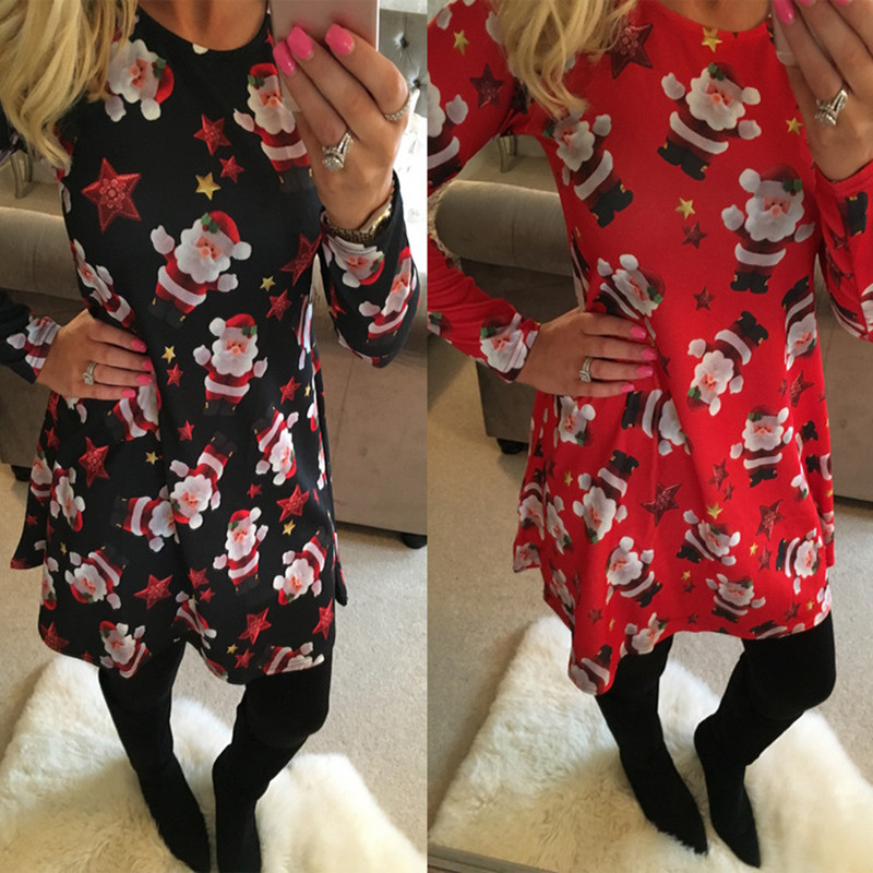 S-5XL Plus Size Tunic Autumn Women Dresses Casual Cartoon Print Christmas Dress Casual Loose Long Sleeve Party Dress Vestidos