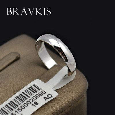 BRAVEKISS Simple Plain Wedding Band Engagement Rings For Her And He  Alliance Couples Ringen Voor Vrouwen Bague Jewelry BJR0097A